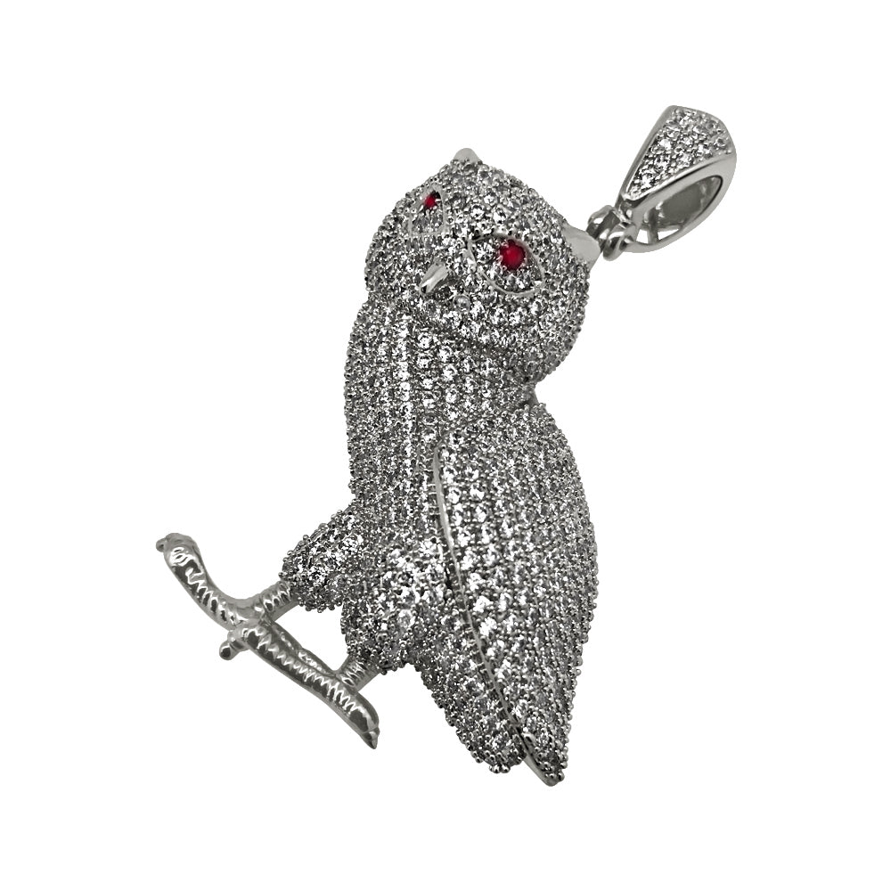 Rhodium 3D Fully Iced Out Owl Pendant