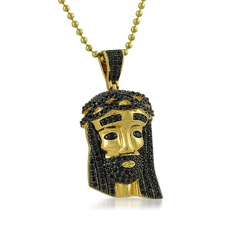 Gold Black Stone Mini Jesus Head Pendant