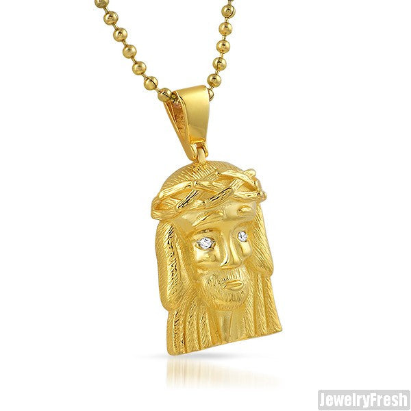 Gold Simple Iced Eyes Micro Jesus Piece Pendant