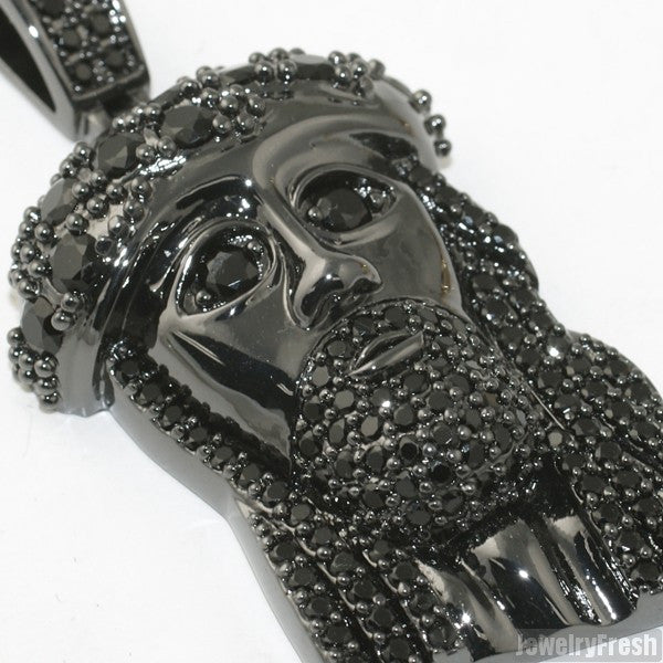 Black VVS Lab Made Savior Jesus Pendant