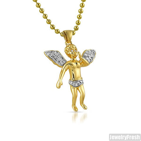 0.70 Carat Gold Mini Angel Pendant Set