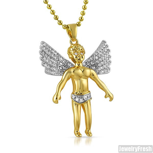 088 carat gold angel pendant with chain jewelryfresh 088 carat gold angel pendant with chain aloadofball Images