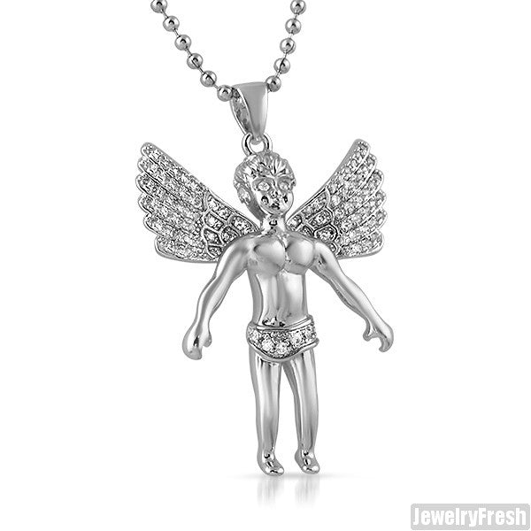0.88 Carat Silver Angel Pendant With Chain
