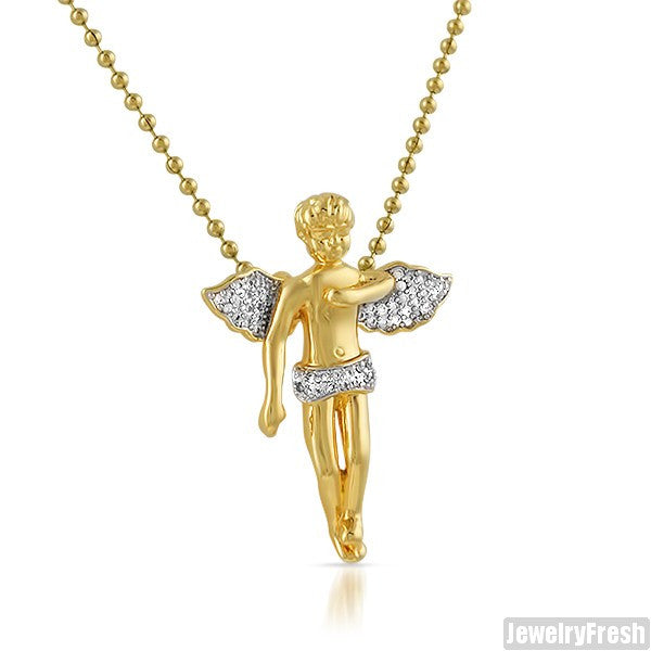 Part Iced Gold CZ Small Angel Piece