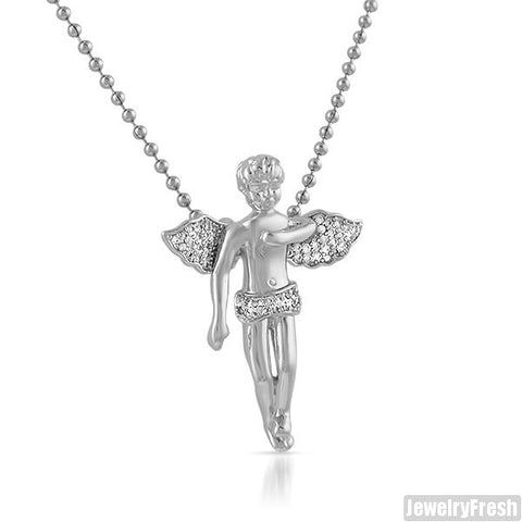 Part Iced Silver CZ Small Angel Piece
