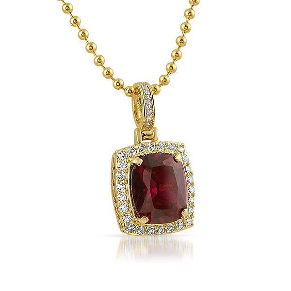 18K Gold Finish Synthetic Ruby Pendant