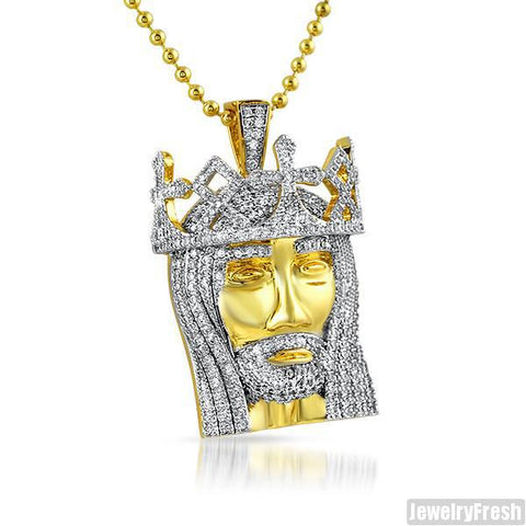 Gold 3D King of Kings Jesus Pendant