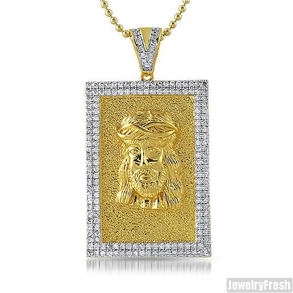 Gold Jesus Face CZ Medallion