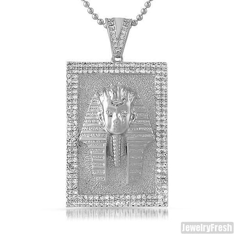 Silver Iced Pharoah CZ Medallion