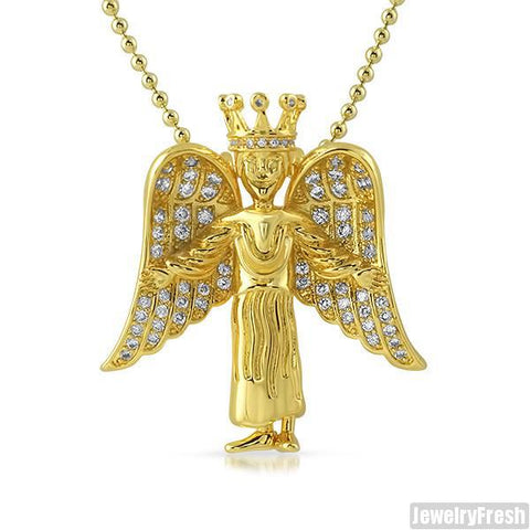 Gold 3D Iced Angel Pendant Set