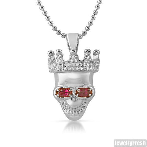 Silver 3D Skull Pendant With Ruby Eyes