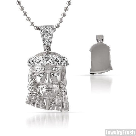 Silver Iced CZ Crown Micro Jesus Piece