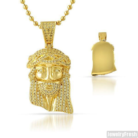 Canary Iced Out Solid Back Micro Jesus Piece