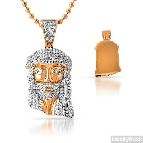 Rose Gold Iced Out Solid Back Micro Jesus Piece