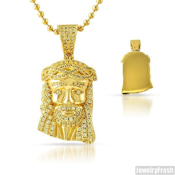 Gold Solid Back Canary CZ Micro Jesus Pendant