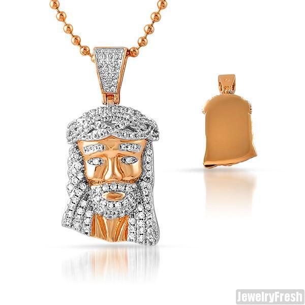 Rose Gold Solid Back CZ Micro Jesus Pendant