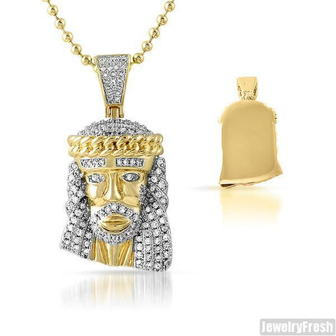 Gold Cuban Link Crown Micro Jesus Pendant