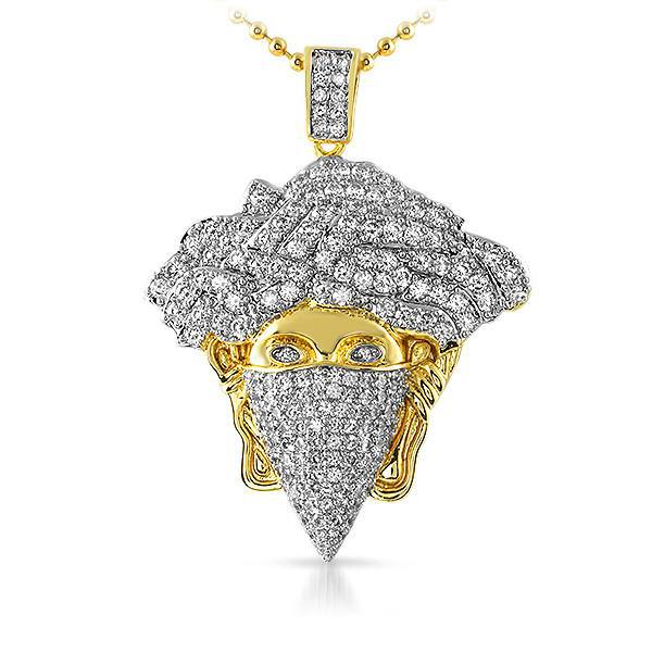 Gold Iced Out Medusa Masked Pendant