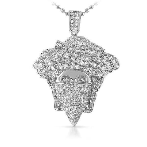 Silver Iced Out Medusa Masked Pendant