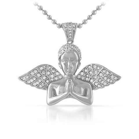 Silver Praying Angel Lab Diamond Pendant