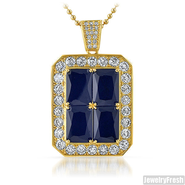 Blue 4 Lab Sapphire Iced Out Royal Pendant