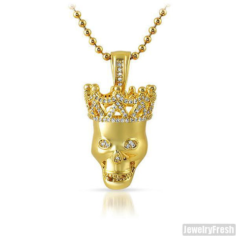 Gold CZ Skull Pendant and Chain Set