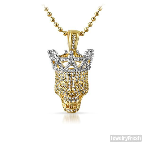 Gold Two Tone 3D Iced Out Skull Pendant Set