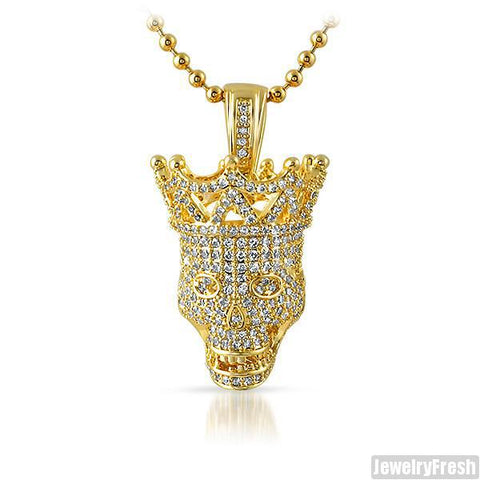 Gold 3D Iced Out Skull Pendant Set
