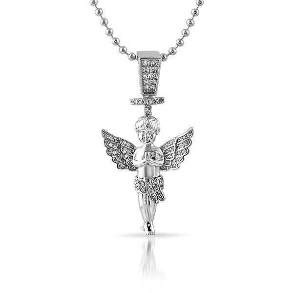 Silver Halo Spinning Angel Pendant Necklace