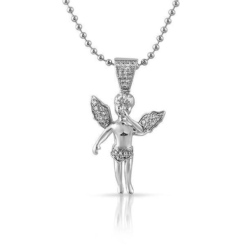 Silver Micro Angel Pendant Necklace