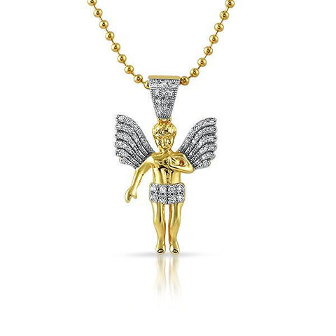 Gold Big Wing Angel Pendant Chain Set