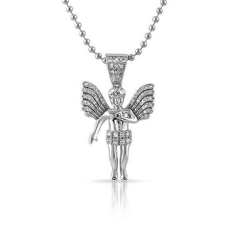Silver Big Wing Angel Pendant Chain Set