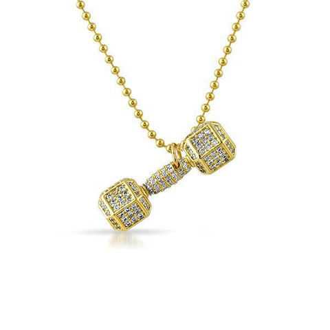 Gold CZ Dumbbell Weight Pendant