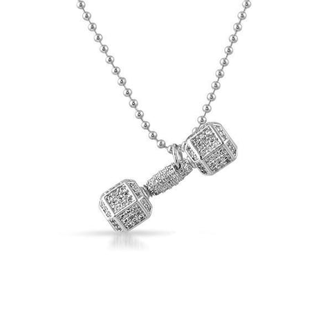 Silver CZ Dumbbell Weight Pendant