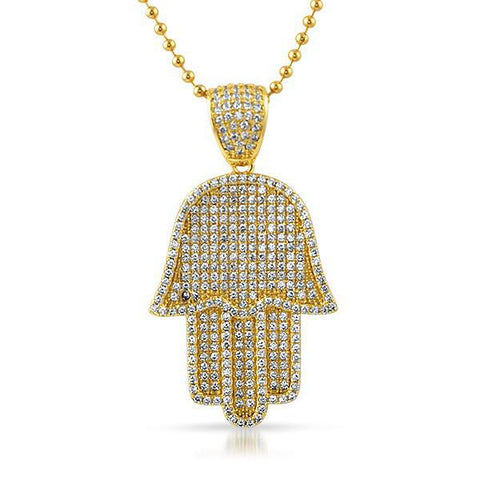 Gold CZ Iced Out Hamsa Pendant