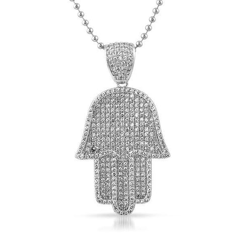 Silver CZ Iced Out Hamsa Pendant