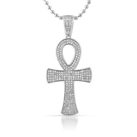 Silver CZ Egyptian Ankh Cross Chain