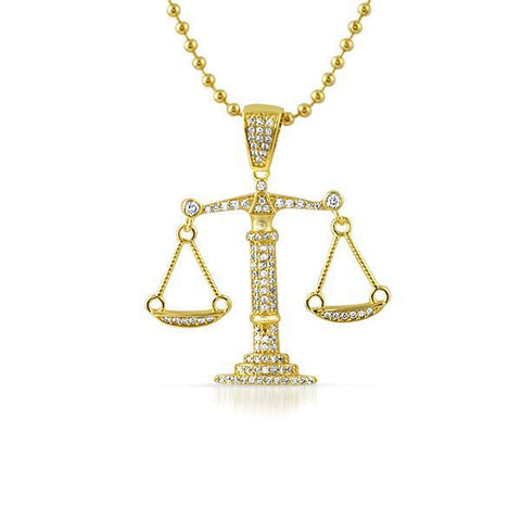 Gold Balance Scale CZ Pendant With Chain