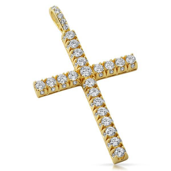 Gold Finish 3D Iced Out Cross Pendant