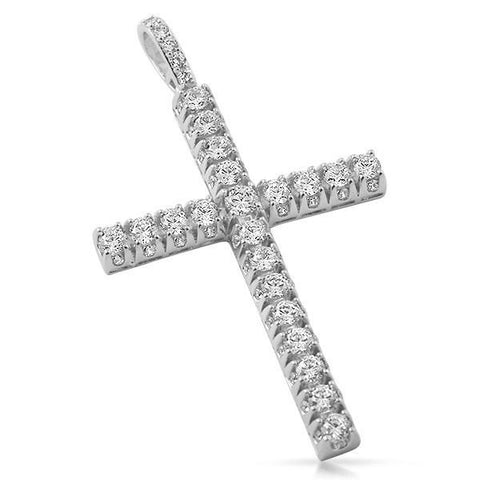 Silver Finish 3D Iced Out Cross Pendant