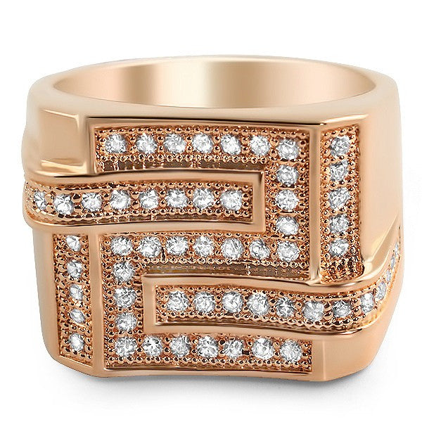 14k Rose Gold Finish Iced Out Maze Ring For Men