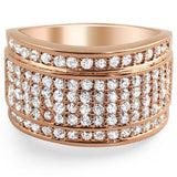 14k Rose Gold Finish Iced Out Baller Style Ring