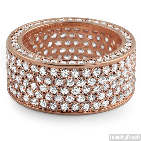 Rose Gold Finish Simulated Diamonds 360 Ring