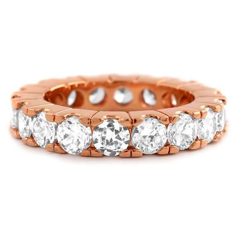 Rose Gold Finish Big Rocks Prong Set CZ Eternity Ring