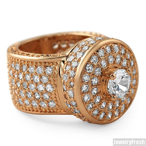 Rose Gold Finish CZ Custom Jumbo Blizzard Ring
