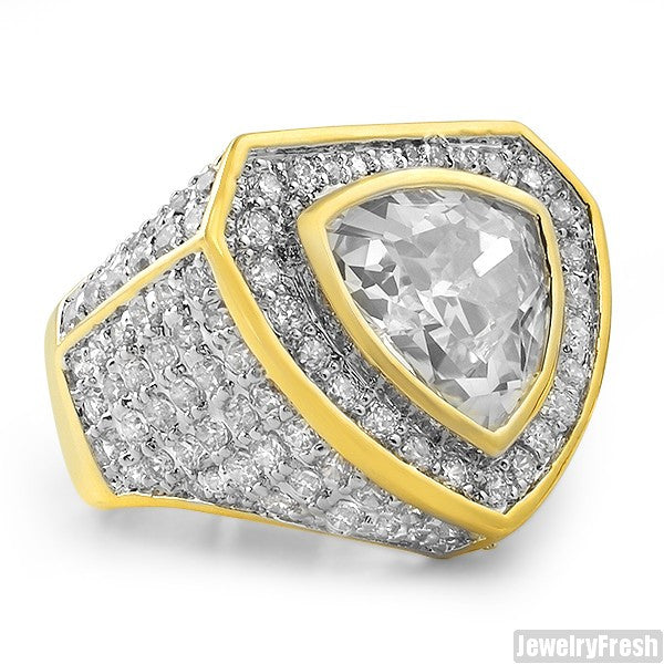Gold Simulated Diamond 8 Carat Trillion Cut CZ Ring