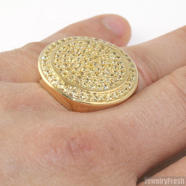 Canary Yellow CZ Jumbo Round Iced Out Ring