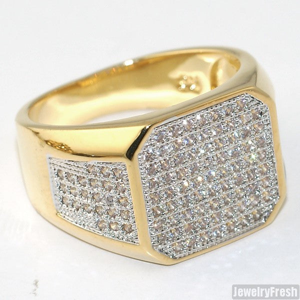 18K Gold Plated Octagon Iced Out Mens Ring – JewelryFresh