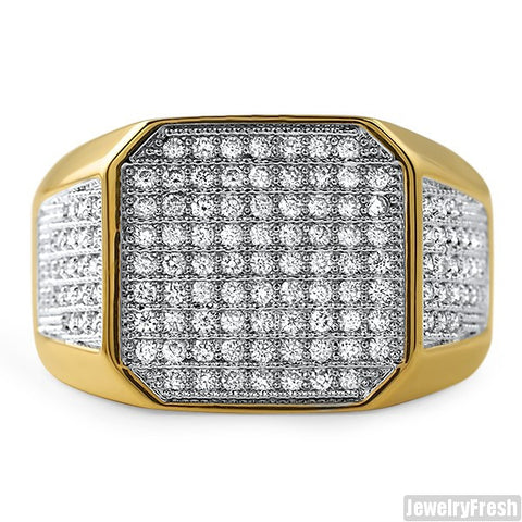 18K Gold Plated Octagon Iced Out Mens Ring