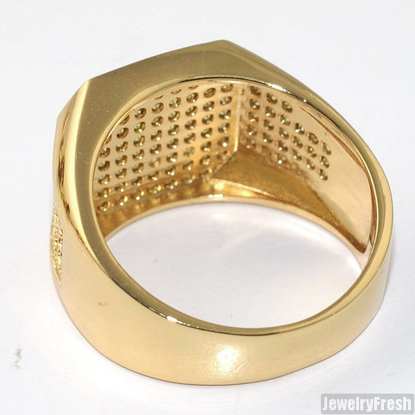 18K Gold Lemonade Octagon Iced Out Mens Ring